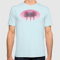 Triplet Trees In Pink Mens Fitted Tee Light Blue SMALL