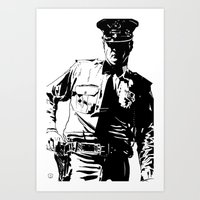 Guard with gun Art Print