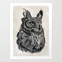 owl Art Prints featuring Owl by Feline Zegers