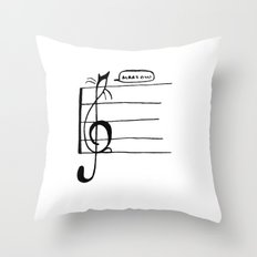 Treble Clef Cat Throw Pillow