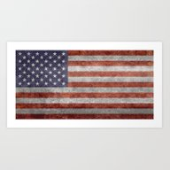 America Flag With Vintag… Art Print