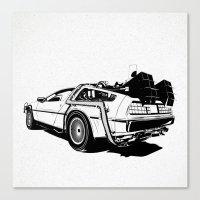 DeLorean / BW Canvas Print