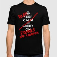 Keep Calm And Run Zombies Are Coming Mens Fitted Tee Black SMALL
