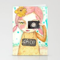 Smile ! girl with photo camera Stationery Cards