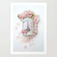 Shabby Chic Pink Roses Eiffel Tower  Art Print