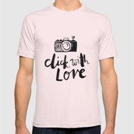 Click With Love In White Mens Fitted Tee Light Pink SMALL
