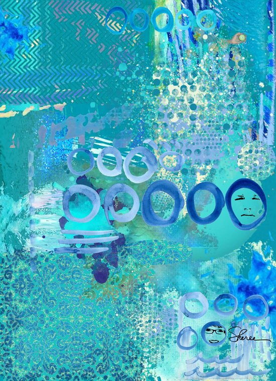 Blue Heaven Abstract Art Collage Art Print