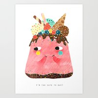 Ice Cream Cake: Too cute too eat! Art Print