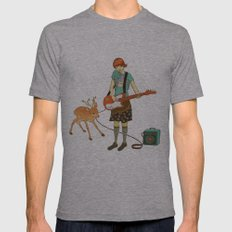 Guitar Fawn Mens Fitted Tee Athletic Grey SMALL