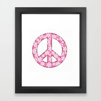 Peace Sign With Flowers … Framed Art Print