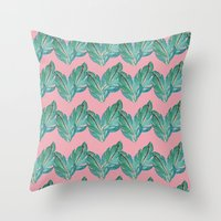 Watercolor Leaves Throw Pillow
