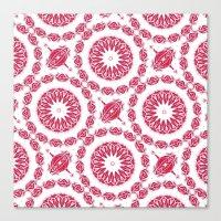 Ruby Mandala Tile Canvas Print
