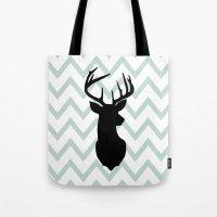 Chevron Deer Silhouette Tote Bag