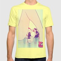 Girl With Gun 2 Mens Fitted Tee Lemon SMALL