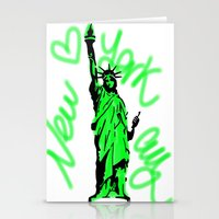 New York City Neon Green Stationery Cards