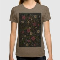 Teal Flowers Womens Fitted Tee Tri-Coffee SMALL