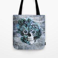 Blue grunge ohm skull Tote Bag