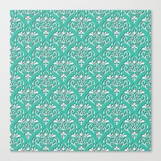 damask pattern torquoise with shadow Canvas Print