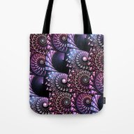 Tote Bag featuring Jeweled Sea Shells Patte… by Kirsten Star