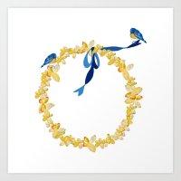 Bluebirds And Blossoms Art Print