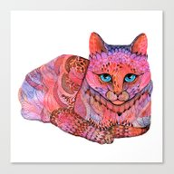 Canvas Print featuring SUNSET CAT by Ola Liola