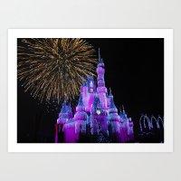 Disney Magic Kingdom Fireworks at Christmas - Cinderella Castle Art Print