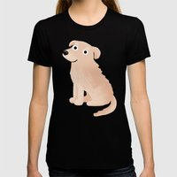 Golden Retriever - Cute Dog Series Womens Fitted Tee Black SMALL