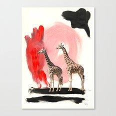 Paint the Blues Away Giraffes Canvas Print