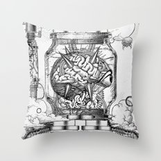 Mother Brain Super Metroid Engraving Scene Throw Pillow