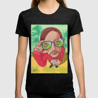In the reflection glasses Womens Fitted Tee Tri-Black SMALL
