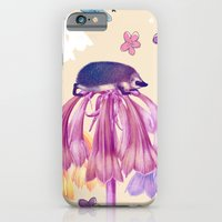 iPhone & iPod Case featuring The hedgehog and the flowers by TatiAbaurreDesigns