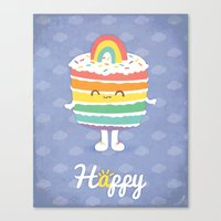 Happy Rainbow Cake Canvas Print