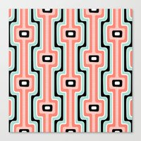 Coral Stripe Mod Canvas Print