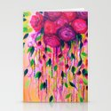 ROSES ARE RAD 2- Bold Pink Red Roses Floral Bouquet Vines, Flower Abstract Acrylic Painting Fine Art Stationery Cards