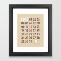 Minimalist Calendar 2013 (Light version) Framed Art Print