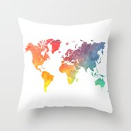 Map Of The World Colored Throw Pillow