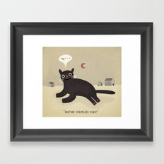 what haunts a cat? Framed Art Print