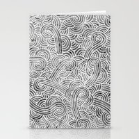 Grey And White Doodles Stationery Cards