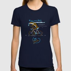 Easy Rider // (cycling hipster deer) Womens Fitted Tee Navy SMALL