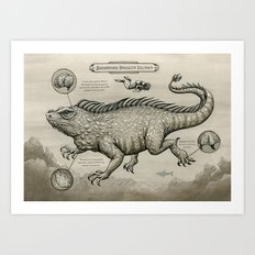 Swimming Dragon Iguana Art Print