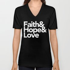 Faith & Hope &  Love Helvetica Unisex V-Neck
