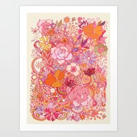 Detailed summer floral pattern Art Print