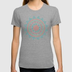 Moon Flower Womens Fitted Tee Tri-Grey SMALL