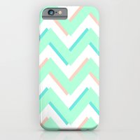 iPhone & iPod Case featuring 3D CHEVRON MINT/PEACH/TEAL by natalie sales