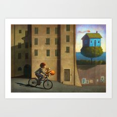 A green and blue house Art Print