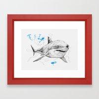 'Sharks & Silhouettes' Framed Art Print