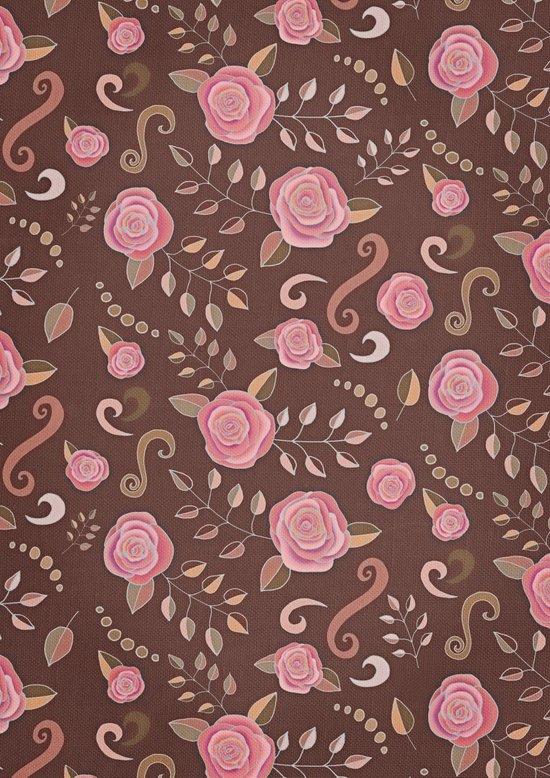 Coffee Roses - vintage rose pattern in pink and brown Canvas Print