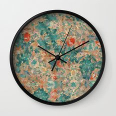 Study in Teal and Peach Wall Clock