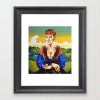 Girl With Blue Sleeves  Framed Art Print