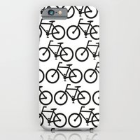 iPhone & iPod Case featuring Bicycle Stamp Pattern - Black and White - Fixie Fixed Gear Bike by Corrie Jacobs